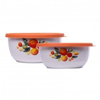 Набор из 2-х керамических салатников с силиконовыми крышками, 0.6/1.2 л