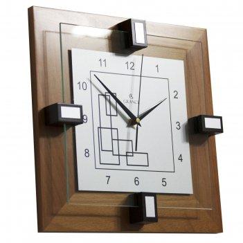 Часы настенные деревянные квадратные grance, цвет светлый орех, арабский ц