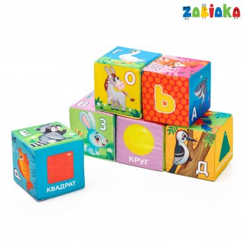 Zabiaka игрушка мягконабивная, кубики алфавит 6шт, 8*8см