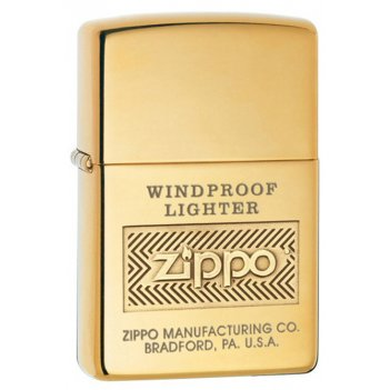 Зажигалка zippo windproof high polish brass, латунь, золотис