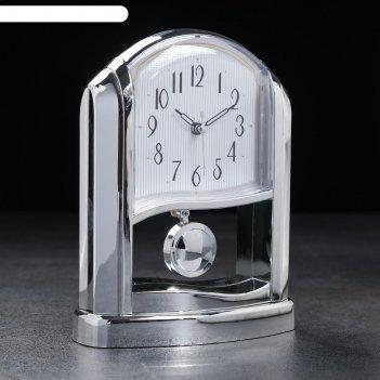 Часы настольные иривис, 2 батарейки 3 ааа, маятник, плавный ход 21х16.5х8.