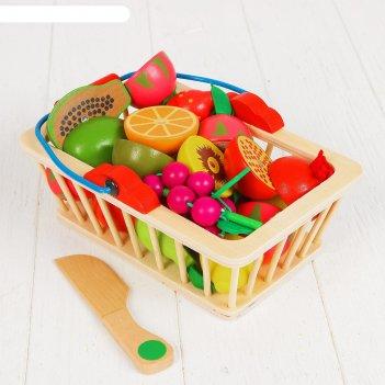 Игровой набор корзина с фруктами, 16 продуктов