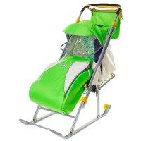 Санки-коляска ника детям 4, цвет: зеленый