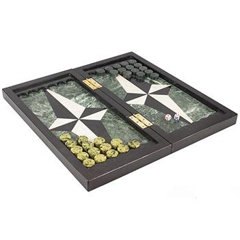 Шахматы, шашки, нарды 3 в 1 змеевик мрамор 440х440 мм 15 кг