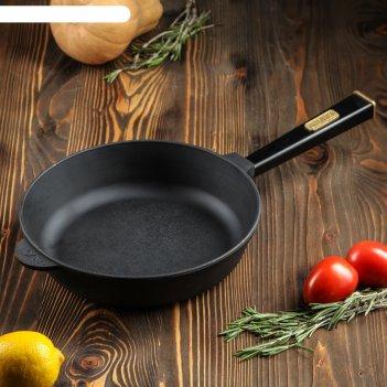 Сковорода-сотейник чугунная оптима-black, 260 х 60 мм, тм brizoll