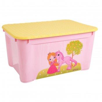 Ящик для игрушек с аппликацией 55,5х39х29 (розовый) 43137760599