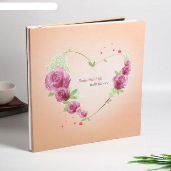 Фотоальбом магнитный 20 листов сердце из роз плотность 500 гр 33х33х3 см
