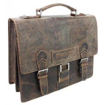 Портфель wenger arizona, коричневый, кожа, 38x14x33 см