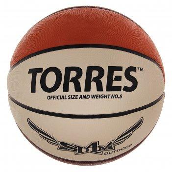 Мяч баскетбольный torres slam, р. 5, бежево-бордово-оранжевый