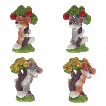 Фигурка декоративная мышка, l5 w3,5 h6,5 см, 4в.