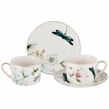Чайный набор на 2 персоны, 4 пр., стрекоза 250 мл. (кор=12набор.)