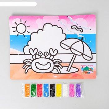 Фреска с цветным основанием краб 9 цветов песка по 2 г