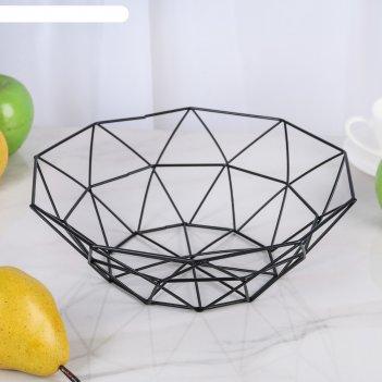 Ваза для фруктов 25x25x8 см геометрия, цвет микс