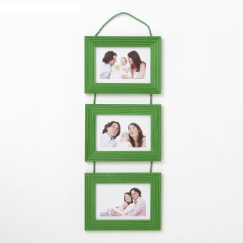 Фоторамка на 3 фото 10х15 см подвесная 5n зелёный