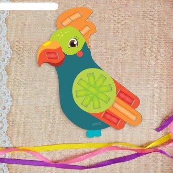 Вышивка лентами попугай для самых маленьких