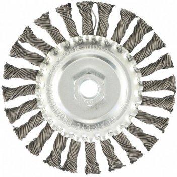 Щетка для ушм 125 мм, м14, плоская, крученая проволока 0,8 мм mtx
