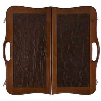 Нарды кожаные бронза малые с ручкой (россия, дерево, 40х20х5 см)