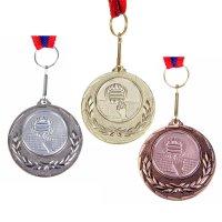 Медаль тематическая 032 волейбол диам 4 см. цвет зол