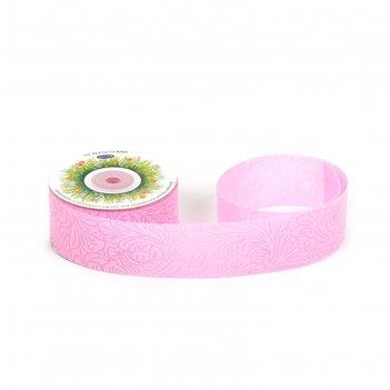 Лента фетр 3d «узор», 4 см x 10 м, цвет светло-розовый