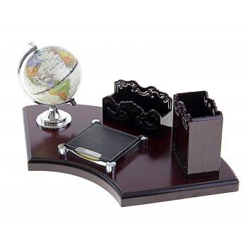 Набор настольный 4в1: глобус, блок для бумаги, подставка под визитки, для