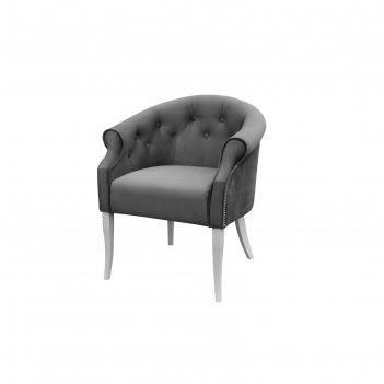 Кресло «милан», ткань энигма, молдинг никель, опоры белые, цвет серый