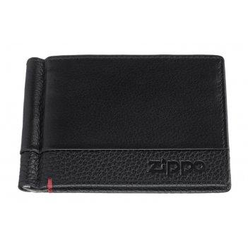 Зажим для денег zippo с защитой от сканирования rfid, чёрный, натуральная