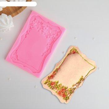 Молд 15,5x10,5 см рамка с розами, цвет розовый
