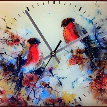 Картина сваровски - часы снегири