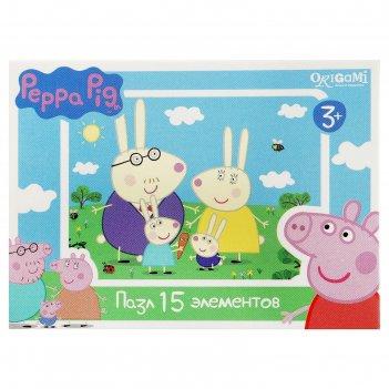 Пазлы свинка пеппа, 15 элементов, микс