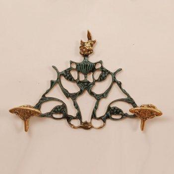 Вешалка настенная из бронзы на 2 крючка