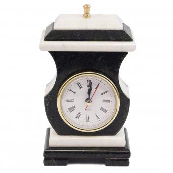 "Часы со шкатулкой ""ретро"" мрамор змеевик 95х70х160 мм 1000 гр."