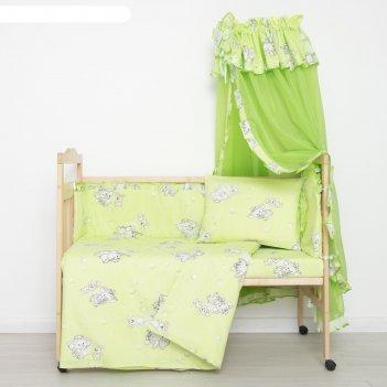 Комплект в кроватку слонята (5 предметов), цвет зелёный (арт. 51/1)