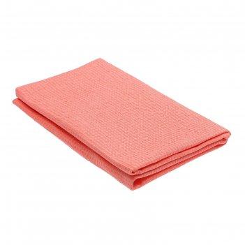 Полотенце вафельное гладкокрашенное, 100х150 см, цвет персик, 160 г/м