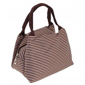 Косметичка-сумочка морячка, 1 отдел на молнии, 2 ручки, цвет коричневый