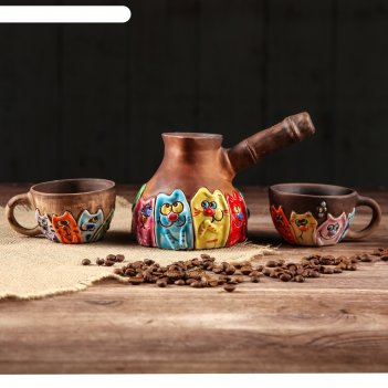 Кофейный набор 3 предмета котомания  турка 350 мл, 2 чашки