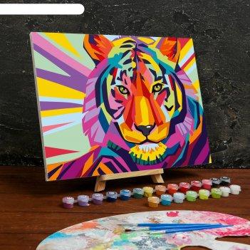 Картина по номерам на холсте с подрамником «тигр» 30x40 см