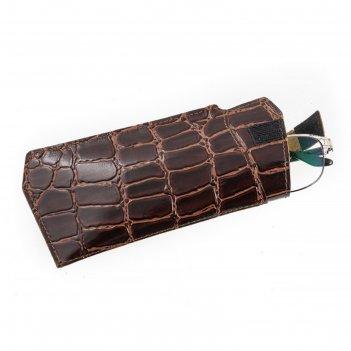 Футляр для очков, натуральная кожа, цвет коричневый крокодил