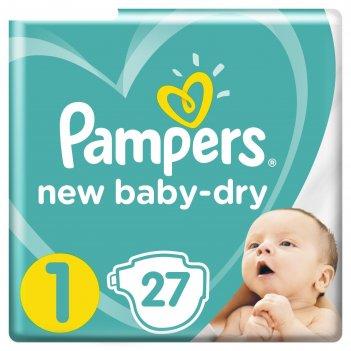 Подгузники pampers new baby-dry, размер 1, 27 шт.