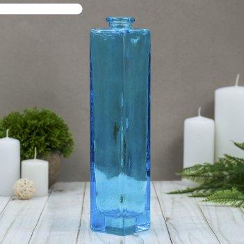 Ваза нарцисс голубая прозрачная 24,5х5,5х5,5 см