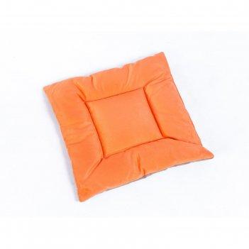 Подушка на стул квадратная 45х45см, высота 5см, велюр коричневый, оранжевы