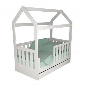 Детская кровать-домик с ящиком, белый, 800 x 1600 мм