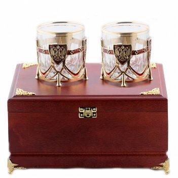 Бокалы для виски россия 2 шт  в деревянной шкатулке
