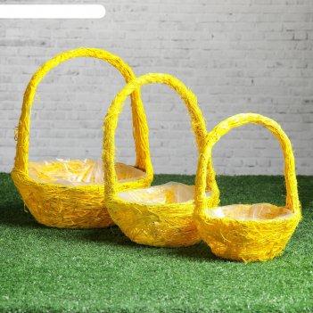 Набор корзин «солнышко», 3 шт, 25x10/32 см, 20x9/28 см, 17x8/23 см, ротанг