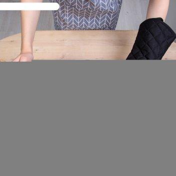 Варежка доляна профи280 цв.чёрный, 18х33 см, п/э,хлопок, силикон