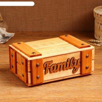 Сундук деревянный family, 23 х 16 х 10 см, микс