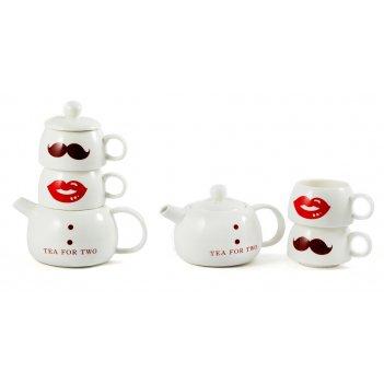 """Набор для чая """"леди и джентельмен"""" 20см: чайник заварочный, 2 ча"""