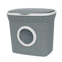Контейнер для стирального порошка с иллюминатором 10 л ротанг, цвет серый