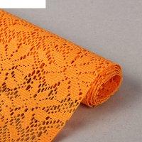 Коврик противоскользящий 45х100 см, цветы, оранжевый