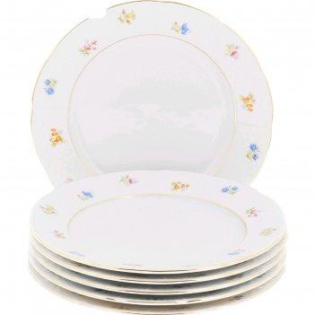 Тарелка десертная 17 см, natalie, декор мелкие цветы, отводка золото