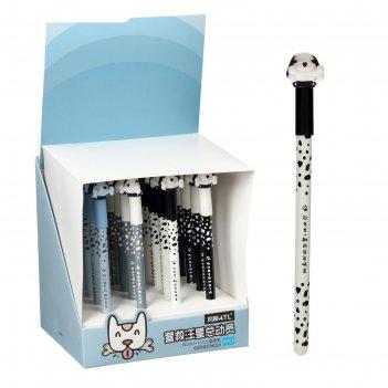 Ручка гелевая-прикол пиши-стирай стержень черный, корпус микс собачка